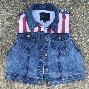 Forever 21 American Flag Denim Vest Size L/XL